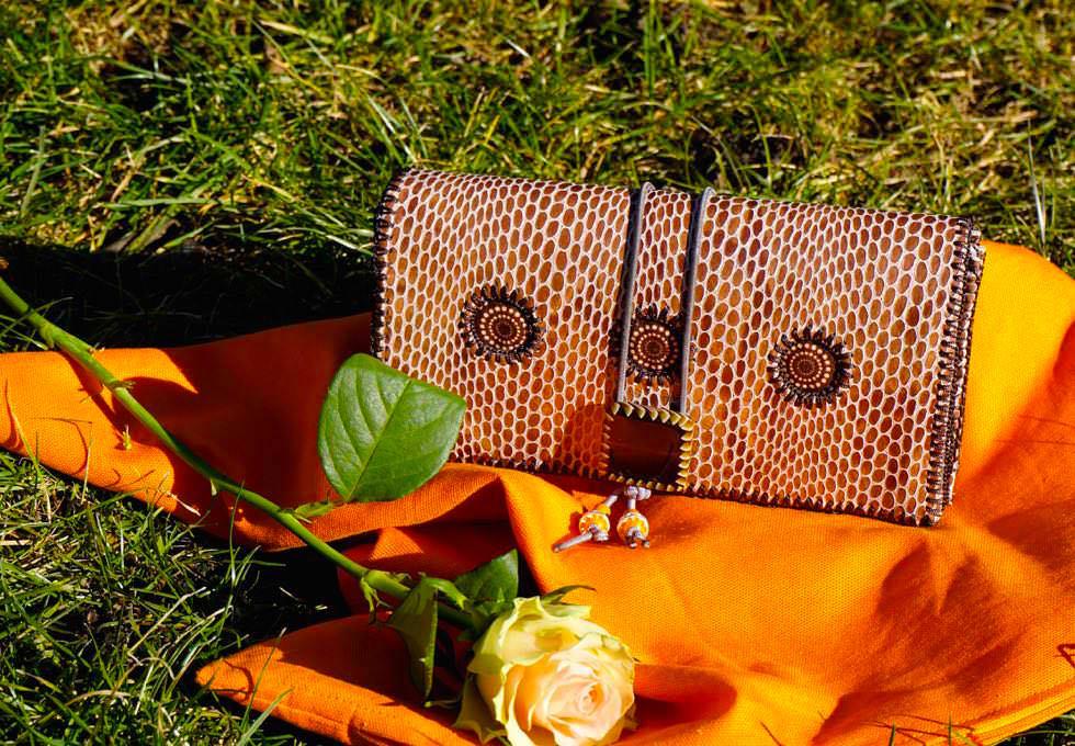 Luxury Square Portemonnaie , Designerstoffe, Echtleder
